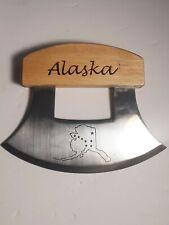Alaskan Ulu Hunting Skinning Chopping Knife Stainless Steel  Wood Handle
