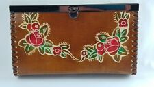 Hand Tooled Leather Clutch Brown Red Roses