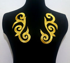Mirror Pair Embroidered Gold Metallic Appliques/Patch~Sew On~Iron-On