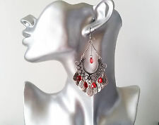 Gorgeous antique - vintage silver tone & red bead boho style drop earrings, NEW