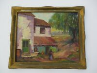 ANTIQUE JANE BEST OIL PAINTING LANDSCAPE CARVED ART DECO FRAME ORNATE 1920'S 20""