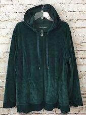 Fashion Bug womens 2X green velour hoodie zip sweatshirt jacket