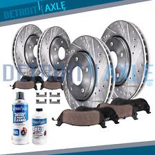Fit 2013-2015 Hyundai Santa Fe Front & Rear Drilled Brake Rotors + Ceramic Pads