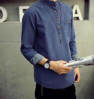 New Stylish Mens Long Sleeve Denim Leisure Shirts Pullover Boy's Baggy Jean Coat