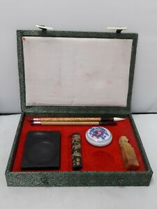 Vintage Chinese Calligraphy Set 2 Pens Ink Well In Green Presentation Box