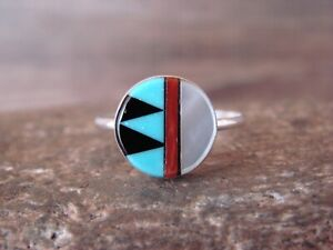 Zuni Indian Sterling Silver Multi-Stone Inlay Ring Size 8 by Martinez