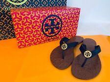 Tory Burch NIB Thora Thong Flat Sandal Leather Logo BLACK MANY SIZES