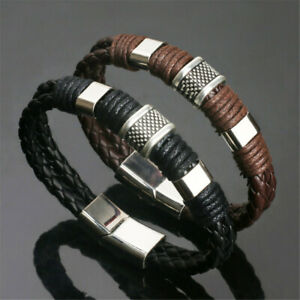 Men Leather Titanium Steel Magnetic Braided Clasp Women Bracelet Bangle Jewelry