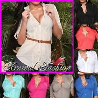 WOMENS SHIRT belt LONG SLEEVE BLOUSE LADIES casual TOPS V NECK loose summer SEXY
