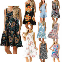Womens Summer Casual Swing Dress Sleeveless Sundress Floral Printed With Pocket