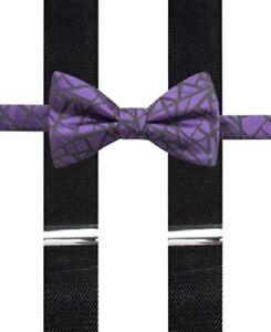Alfani Mens Geo Print Party Y Shape Suspenders Purple O/S