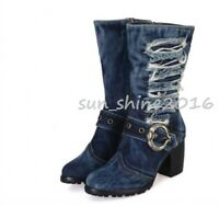 Women Roman Round Toe Denim Chunky Heel Buckles Side Zip Mid Calf Boots Shoes