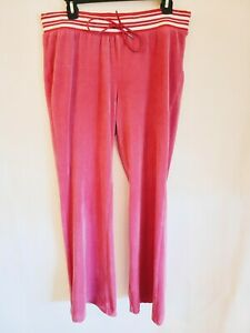 Juicy Couture Womens Size Large Velour Tie Waist Back Snap Pockets Pants Pink