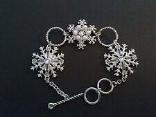 Snowflake Crystal Beaded Toggle Bracelet Winter Holiday