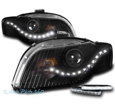 FOR 05-09 AUDI A4 S4 B7 DRL LED BLACK PROJECTOR HEADLIGHTS HEADLAMP W/BUMPER DRL