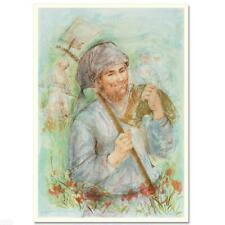 """Edna Hibel """"Man With Hoe (1)"""" Hand Signed Limited Edition Lithograph Art"""