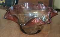 Antique Amberina Victorian Art Glass Finger Bowl Optic Pattern 19th Century