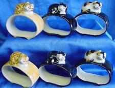Quaglia Ceramica 6 Pezzi Multicolore CAT a mano libera o Serviette Ring Set