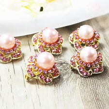 Wholesale 10pcs PINK Pearl Crystal Rhinestone Brooch Pin Bridal Wedding Supplies