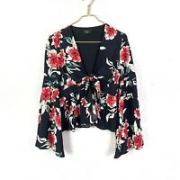 VICI Women's L Deep V-neck Tie Front Bell Sleeve Floral Top
