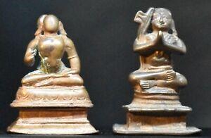 Two Hindu Vaishnavite saints India 2.5 inches rare