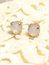 Rose Gold Plated Cup Chain STUD EARRINGS made w/ White Opal Swarovski Crystals