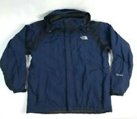 Vintage The North Face Hyvent Large Mens Coat Hooded Navy Blue Zip Front Color