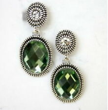 Silver Cable Earrings Plated Vintage Art Deco Crystal Simulated Green Emerald