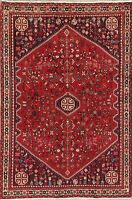 Vintage Tribal Geometric Abadeh Area Rug Wool Hand-Knotted Oriental Carpet 3'x5'