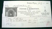 Portland Oregon Foster & Robertson Hardware orig 1885 Graphic Billhead Receipt