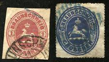 BRUNSWICK #24 #25 German States Stamps Postage BRAUNSCHWEIG 1865 USED