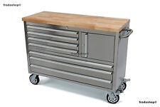 Werkstattwagen RVS, Werkbank mit massiver Holzplatte