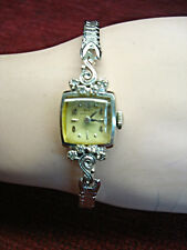 VINTAGE LADY HAMILTON 22 JEWEL WRISTWATCH W/14K WHITE GOLD CASE W/DIAMONDS -RUNS