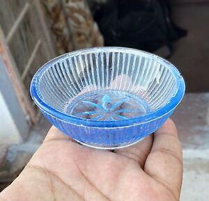 Vintage Beautiul Blue Color Fruit/ Salad Glass Bowl Japan