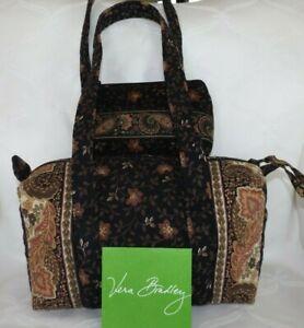 VERA BRADLEY Handbag Vintage Black Walnut & Small Cosmetic Case  Great Condition