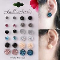 12Pair/Set Assorted Rhinestone Crystal Pearl Earrings Set Women Ear Stud Jewelry