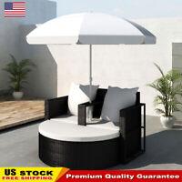 Outdoor Garden Bed with Parasol Black Poly Rattan Sofa Set Furniture Sun Lounger