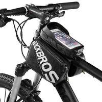RockBros Bicycle Frame Tube Bag Waterproof Touch Screen Phone Bag Black