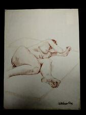"VINTAGE J MCMANUS 1994 NUDE WOMAN COLOR PENCIL DRAWING ON PAPER 18"" X 24"""