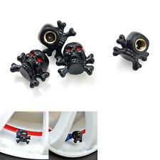 4pcs Car Truck Motorcycle Tire Wheel Rims Stem Air Dust Valve Caps Black Skull