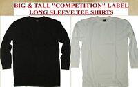 BIG & TALL Solid Long Sleeve T-Shirt - PREMIUM QUALITY - CREW NECK - 5XL 6XL