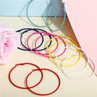 1 pair 6.9cm Candy Color Hoop Earring For Women Jewelry Gift Dangle Drop Earring