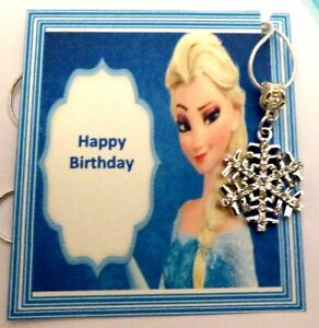 Snowflake Birthday Necklace with tiny crystals Inspired by Elsa Frozen on Card