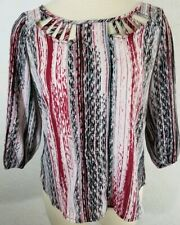 Womens HeartSoul Medium Red Black Pullover 3/4 Sleeve Silky Blouse Top Shirt