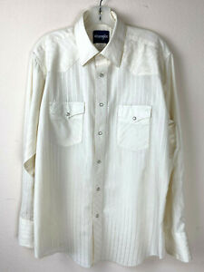 Wrangler Cowboy Long Sleeve Shirt Ivory Large Snap Pearl Button South Western