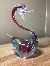 Murano Sommerso Art Glass Duck Bird Swan