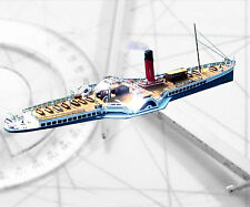 """MODEL BOAT PLAN Clyde Paddle Steamer RADIO CONTROL 63"""" PLANS & ARTICLE"""
