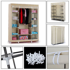 Triple Double Canvas Effect Wardrobe Clothes Hanging Rail Shelves Storages Beige