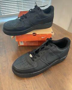 10.5 Nike Air Force 1 Black All Triple Black 306353-001 Mens Vintage 2005