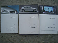 LEXUS 2008  IS250  / IS350 OEM  OWNERS MANUALS,NAV,QUICK GUIDE